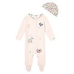 Mantaray - Baby girls' pink applique sleepsuit with a hat