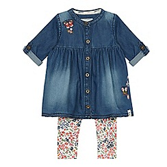 Mantaray - Baby girls' denim dress and leggings set