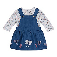 Mantaray - Baby girls' blue butterfly applique pinafore and floral printed top set