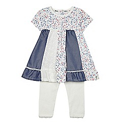 Mantaray - Baby girls' multi-coloured panelled tunic and leggings set
