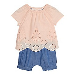 Mantaray - Baby girls' pink and blue broderie mock romper suit