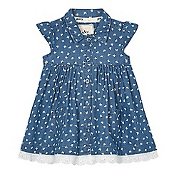 Mantaray - Baby girls' blue chambray leaf print shirt dress