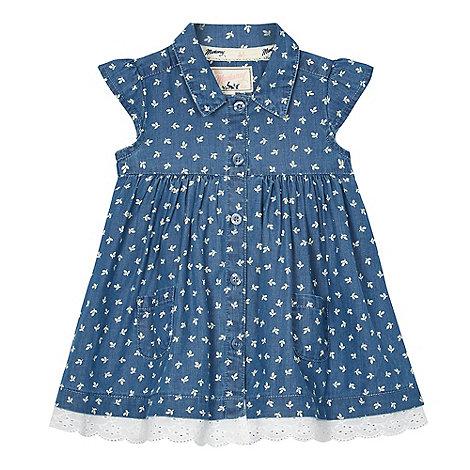 Mantaray - Baby girls+ blue chambray leaf print shirt dress