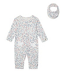 Mantaray - Baby girls' floral print sleepsuit and bib set