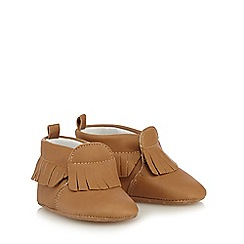 Mantaray - Baby girls' tan fringed moccasin booties