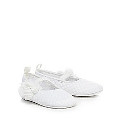bluezoo - Baby girls' white textured spotted flower applique booties