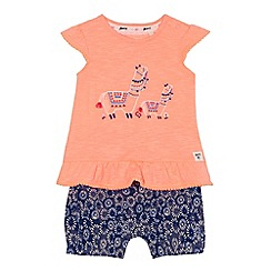 Mantaray - Baby girls' orange llama embroidered tunic and shorts set