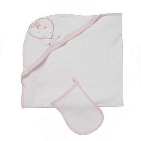 J by Jasper Conran - Designer Babies white floral towel and mitt set