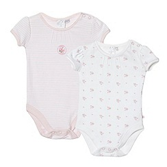 J by Jasper Conran - Designer Babies pack of two pink and white floral bodysuits
