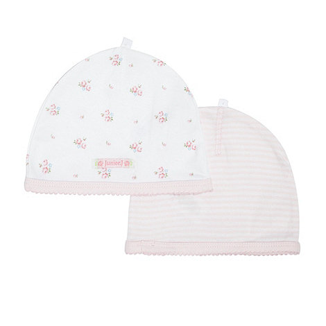 J by Jasper Conran - Designer babies pack of two pink striped and floral hats