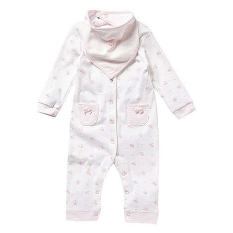J by Jasper Conran - Designer Babies cream floral sleepsuit and dribble bib