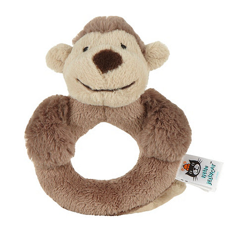Jellycat - Brown faux fur monkey rattle