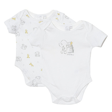 J by Jasper Conran - Designer Babies pack of two white elephant bodysuits