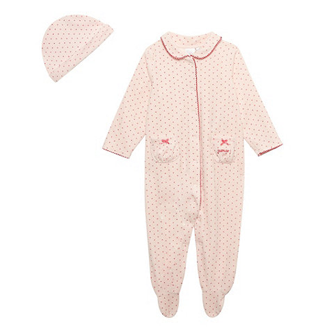 J by Jasper Conran - Designer pink spot collar sleep suit with matching hat
