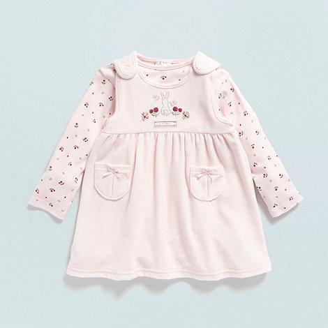 J by Jasper Conran - Designer Babies pale pink velour bunny pinafore set