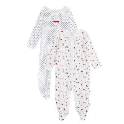 J by Jasper Conran Designer pack of two babies white spotty