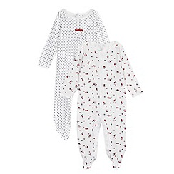J by Jasper Conran - Designer pack of two babies white spotty sleepsuits
