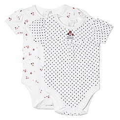 J by Jasper Conran - Pack of two designer babies white floral and dot print bodysuits