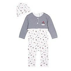 J by Jasper Conran - Designer babies white floral romper suit cardigan and hat set