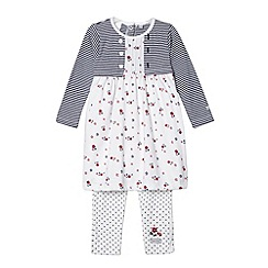 J by Jasper Conran - Designer babies white striped ditsy floral tunic and leggings set