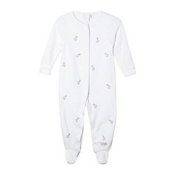 J by Jasper Conran - Designer babies white embroidered ducks velour sleepsuit