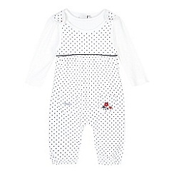 J by Jasper Conran - Designer babies white spotted dungaree set