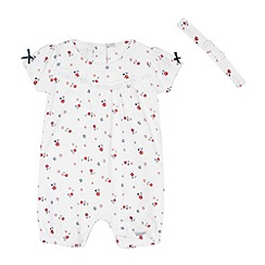 J by Jasper Conran - Designer babies white ditsy floral romper suit and headband set