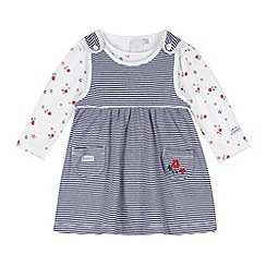 J by Jasper Conran - Designer babies navy striped pinafore and bodysuit set