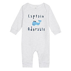 bluezoo - Baby boys' grey 'Captain Adorable' whale print romper