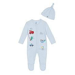 bluezoo - Baby boys light blue applique sleepsuit and hat set