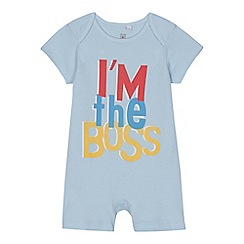 bluezoo - Baby boys' light blue 'I'm the Boss' print romper suit