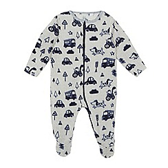 bluezoo - Baby boys' grey transport print all in one