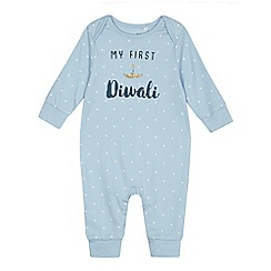 bluezoo - Baby boys' light blue 'My First Diwali' print sleepsuit