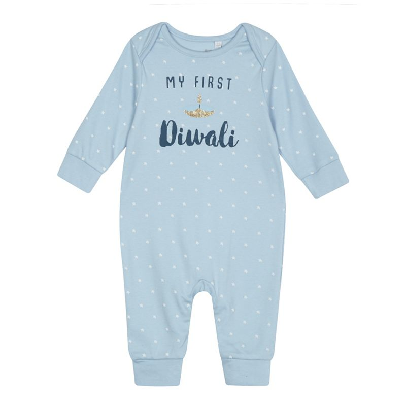 bluezoo Baby boys light blue My First Diwali print sleepsuit