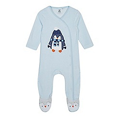 bluezoo - Baby boys' pale blue velour sleepsuit