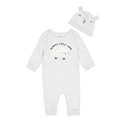 bluezoo - Baby boys grey 'Mummy's Little Lamb' sleepsuit and hat set