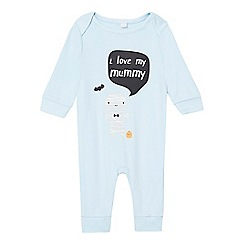 bluezoo - Babies light blue 'I Love my Mummy' sleepsuit