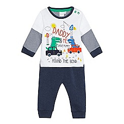 bluezoo - Baby boys' navy 'Daddy and me' print set