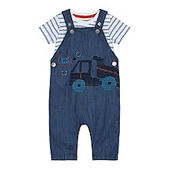 bluezoo - Baby boys' blue denim embroidered truck dungarees and t-shirt set