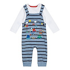 bluezoo - Baby boys' blue vehicle applique dungarees and bodysuit set