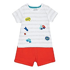 bluezoo - Baby boys' grey badge top and shorts set