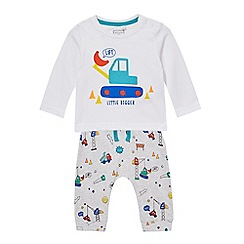 bluezoo - Baby boys' white digger print top and jogging bottoms set