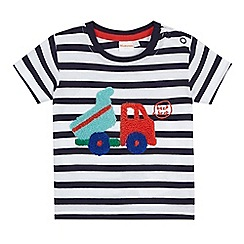 bluezoo - Baby boys' navy striped digger applique top