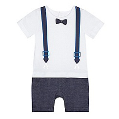 bluezoo - Baby boys' braces print mock romper suit