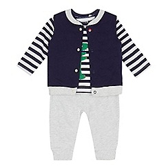 bluezoo - Baby boys' blue trousers, gilet and top set