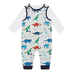 bluezoo - Baby boys' multi-coloured dinosaur print dungarees and top set