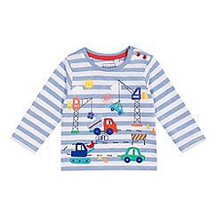 bluezoo - Baby boys' pale blue vehicle applique top