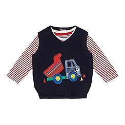 bluezoo - Baby boys' navy knitted dumper truck applique and striped top set