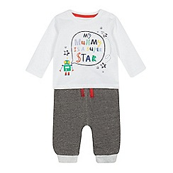 bluezoo - Baby boys' grey 'Mummy is a super star' top and bottoms set