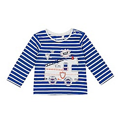 bluezoo - Baby boys' blue stripe fire engine applique top